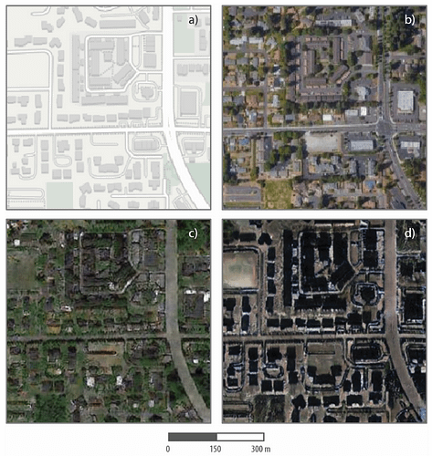 Four images show a street map and a real satellite image of Tacoma, and two simulated satellite images of the same streets in Seattle and Beijing.