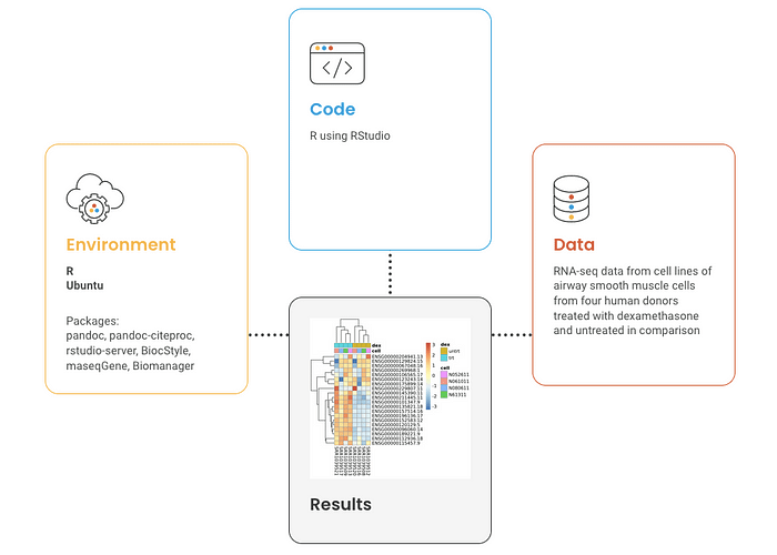"""Diagram showing how a """"compute capsule"""" includes code, environment, and data."""