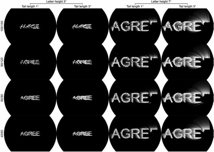"The word ""AGREE"" rendered in various ways with virtual phosphors."