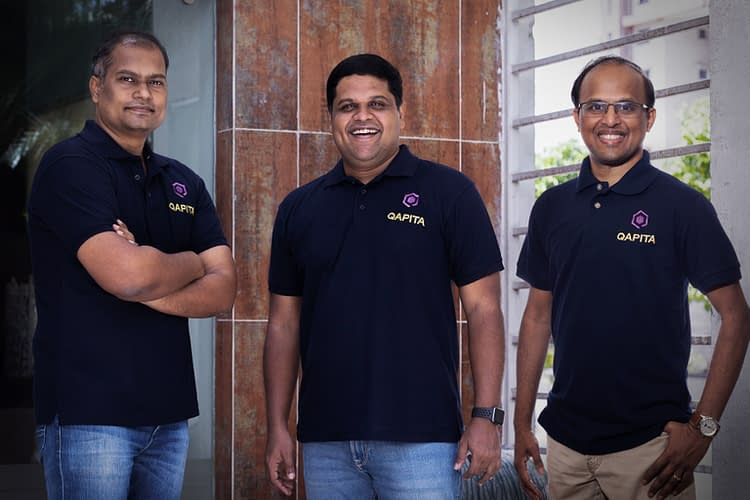 A group photo of Qapita's co-founders. From left to right: Vamsee Mohan, Ravi Ravulaparthi and Lakshman Gupta