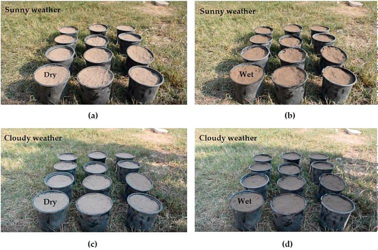 Buckets of soil shown under various lights.
