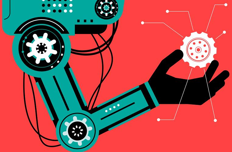 Robotic arm carrying a mechanical part