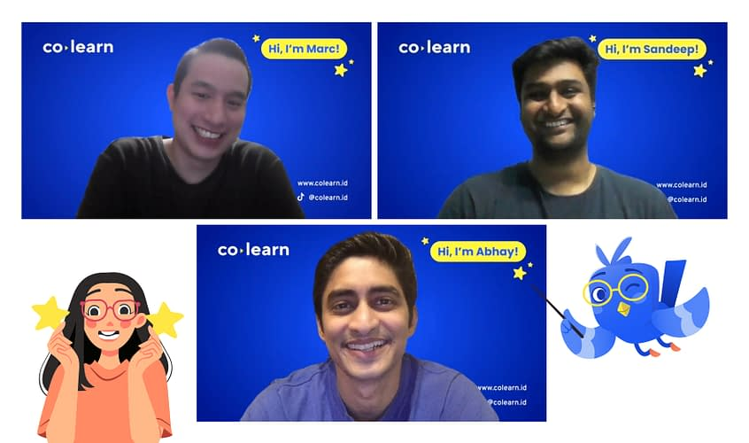 A Zoom screenshot with CoLearn's founding team: Marc Irawan, Abhay Saboo and Sandeep Devaram