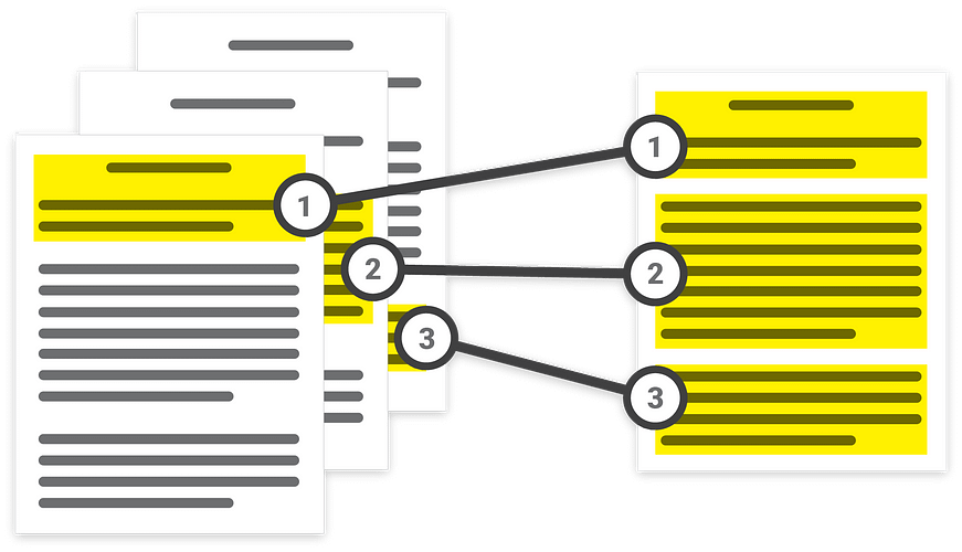 Illustration showing a document corresponding to pieces of another document.