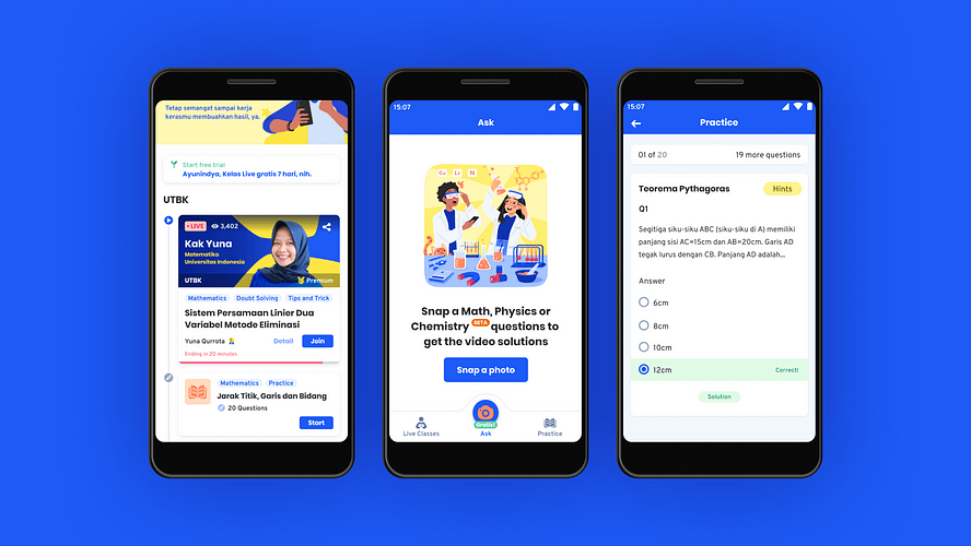 Screenshots from CoLearn, an Indonesian online learning app