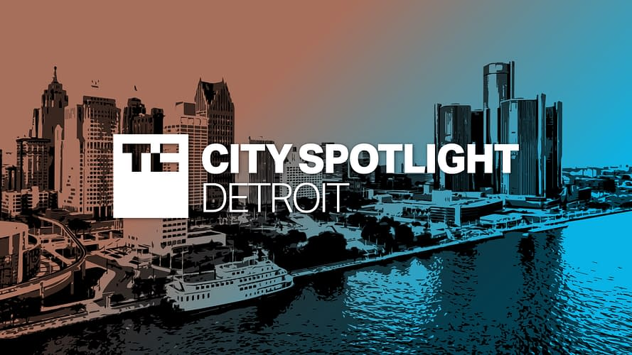 Detroit City Spotlight logo over photo illustration of downtown Detroit