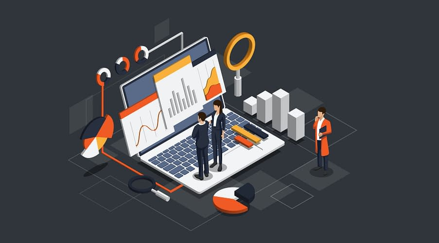 Isometric Business data analytics process management or intelligence dashboard showing sales and operations data statistics charts and key performance indicators concept. (Isometric Business data analytics process management or intelligence dashboard