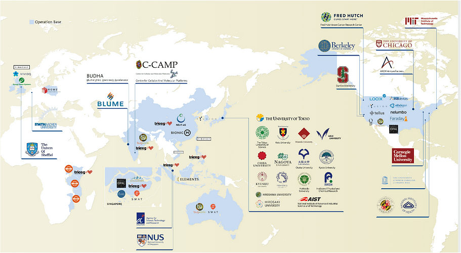 A map showing UTEC's deep-tech investments around the world