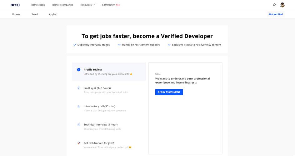 A screenshot showing steps from Arc's developer verification process
